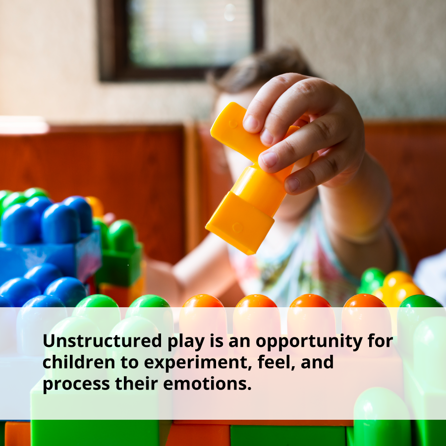 Unstructured play can help children process their emotions and become confident
