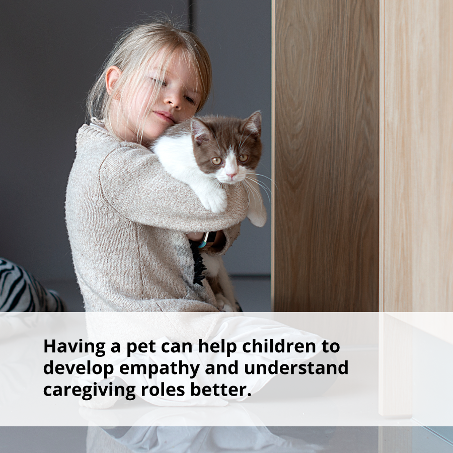 Having a pet can help children with coping with negative emotions.
