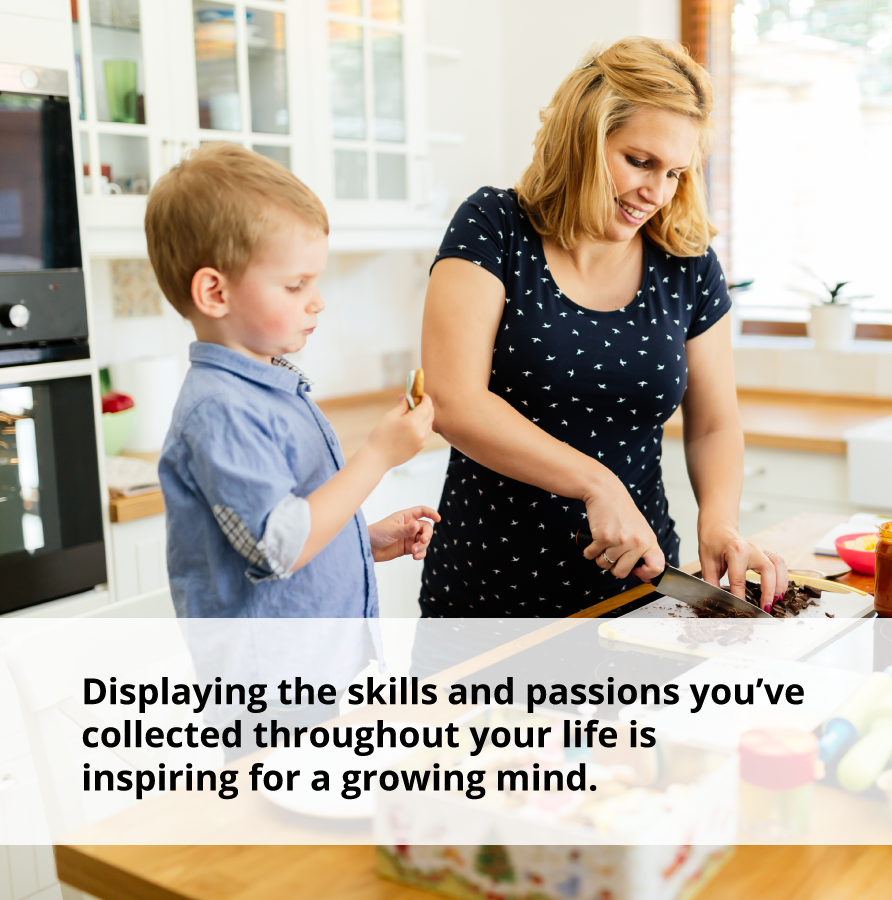 Displaying skills you've collected will inspire your children and help them live confidently.