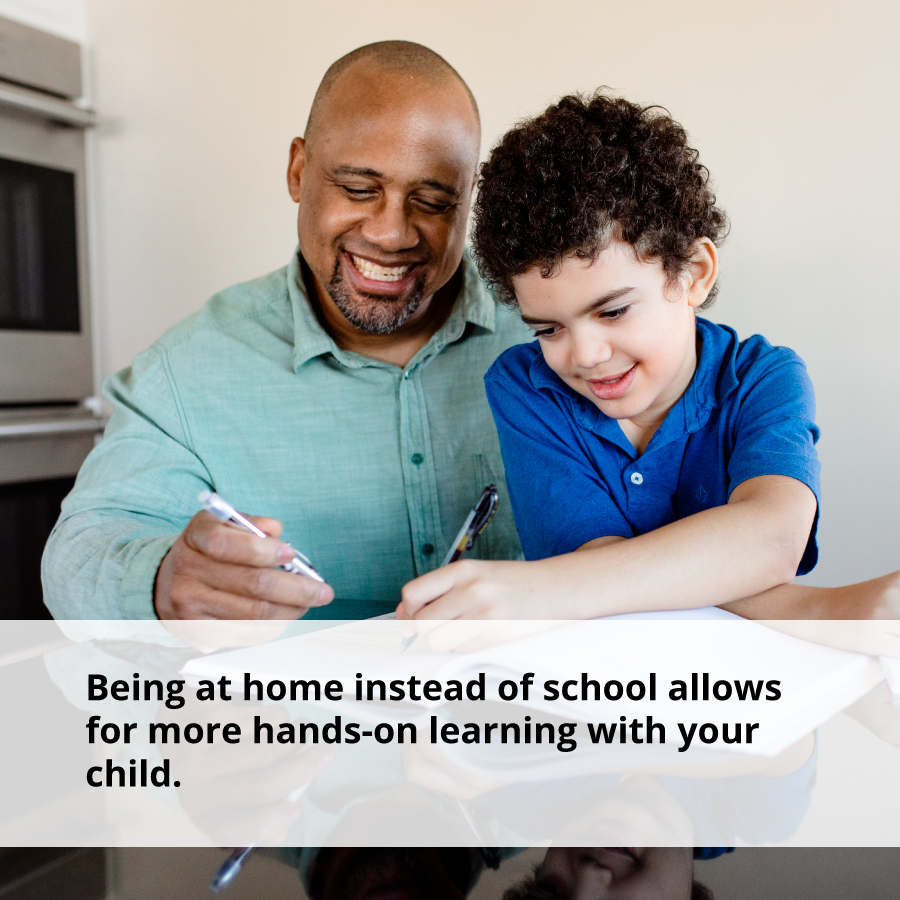 Being at home allows for more hands on learning but does not help with building positive relationships in early childhood.