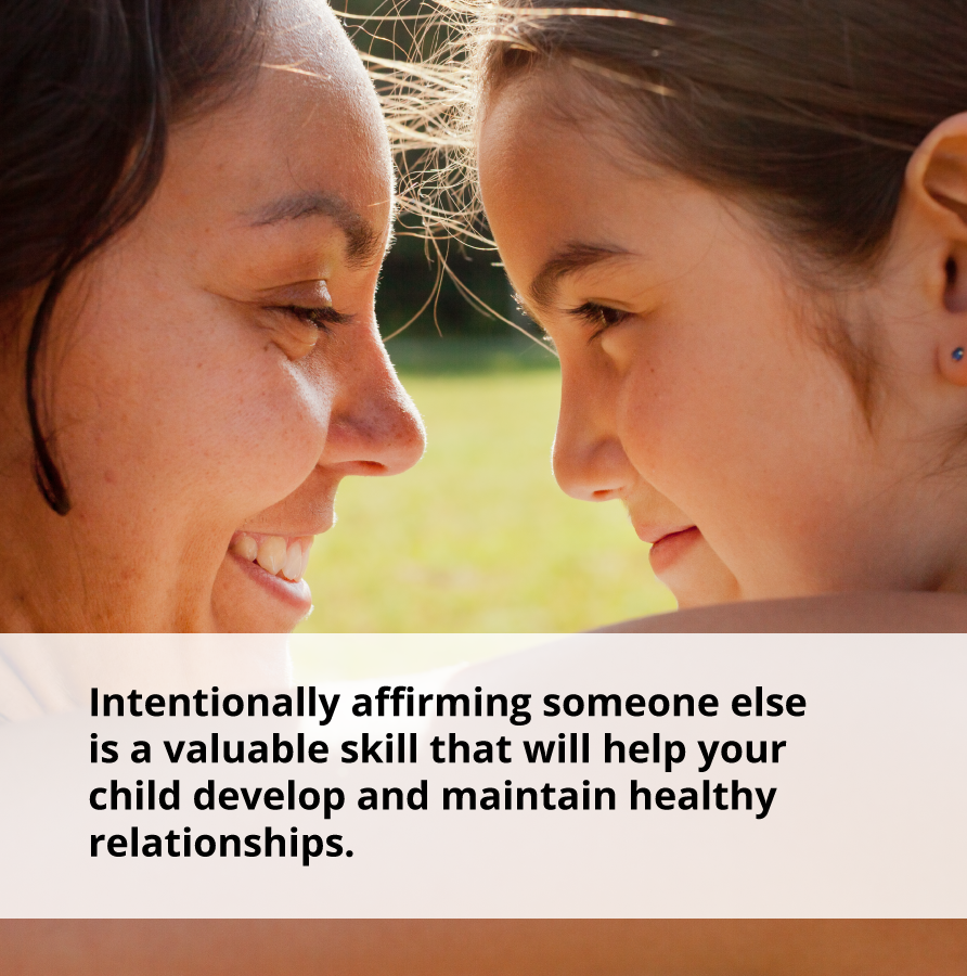 Sharing a kind word is a valuable skill that will help your child develop and maintain healthy relationships.